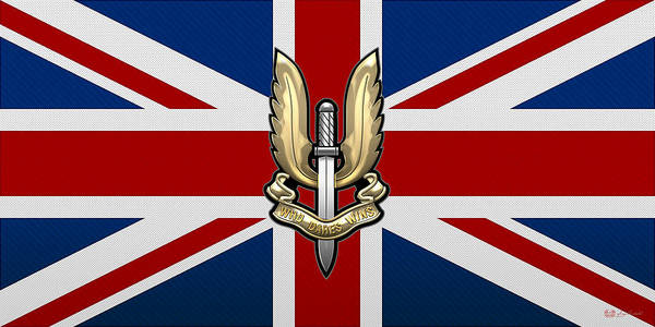Digital Art - Special Air Service - S A S Badge Over U K Flag by Serge Averbukh
