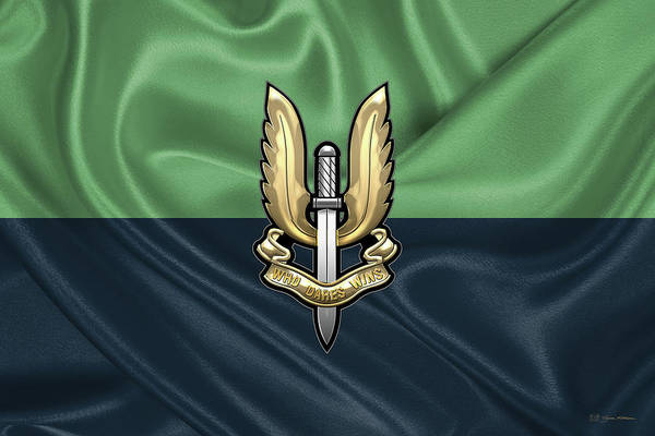 Digital Art - Special Air Service - S A S Badge Over Unit Flag by Serge Averbukh