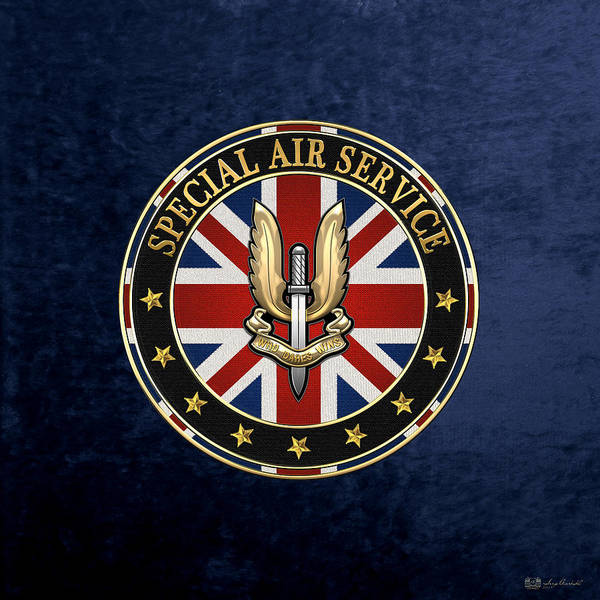 Digital Art - Special Air Service - S A S Badge Special Edition Over Blue Velvet by Serge Averbukh
