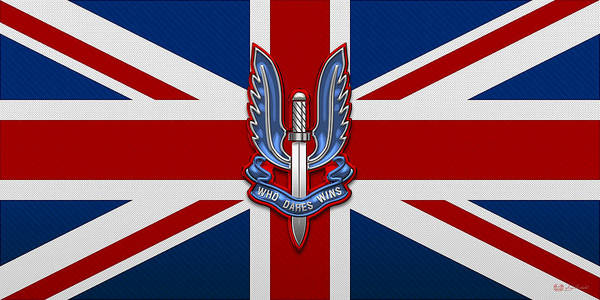 Digital Art - Special Air Service - S A S Insignia Over U K Flag by Serge Averbukh