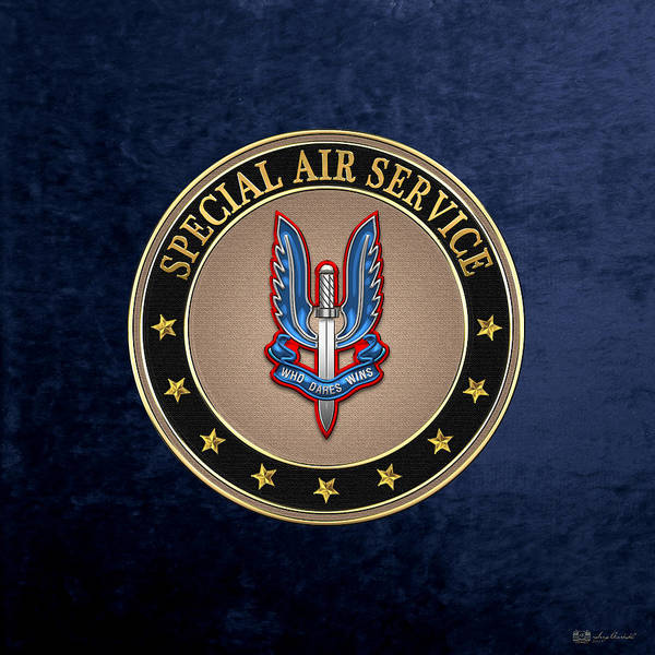 Digital Art - Special Air Service - S A S Insignia Special Tan Edition Over Blue Velvet by Serge Averbukh