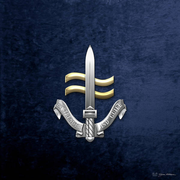 Digital Art - Special Boat Service -  S B S  Badge Over Blue Velvet by Serge Averbukh