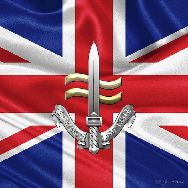 Digital Art - Special Boat Service -  S B S  Badge Over British Flag by Serge Averbukh