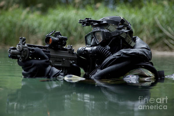 Sharpshooter Wall Art - Photograph - Special Forces Combat Diver Takes by Tom Weber