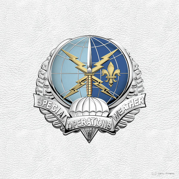 Digital Art - Special Operations Weather Team -  S O W T  Badge Over White Leather by Serge Averbukh