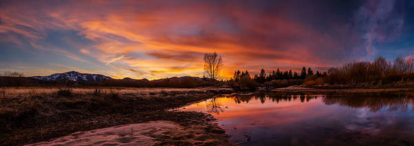 Spectacular Sunset On The River Art Print