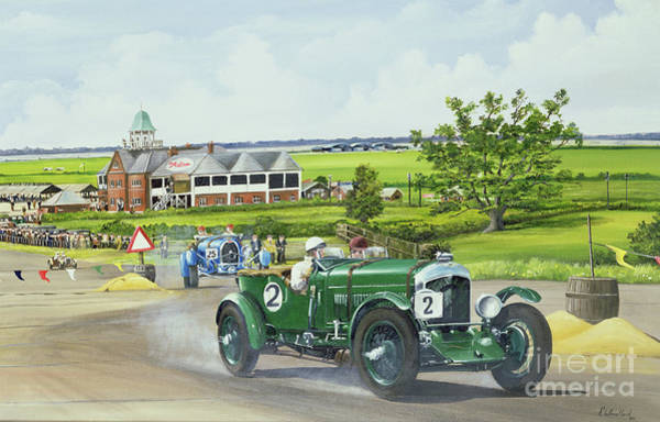 Six Painting - Speed Six Bentley At Brooklands 1930 by Richard Wheatland