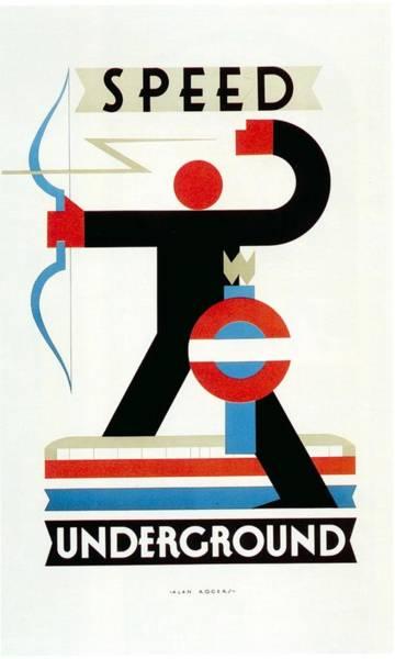 Speed Mixed Media - Speed Underground - London Underground, Metro, Suburban - Retro Travel Poster - Vintage Poster by Studio Grafiikka