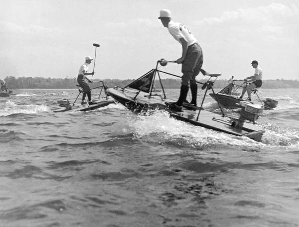 Powerboat Photograph - Speedboat Polo Enthusiasts by Underwood Archives