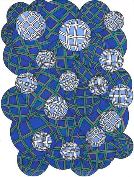 Drawing - Spheres In Blue by Roberta Dunn