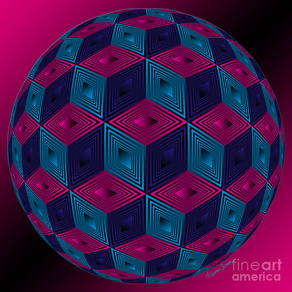 Digital Art - Spherized Pink Purple Blue And Black Hexa by Heather Schaefer