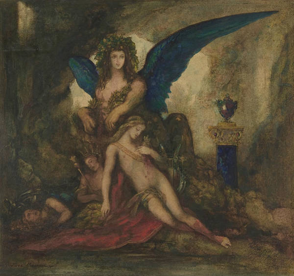Drawing - Sphinx In A Grotto by Gustave Moreau