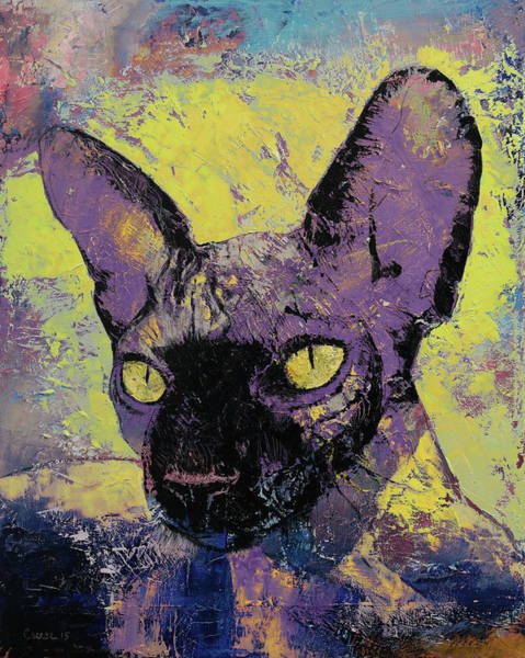 3d Painting - Sphynx Cat Painting by Michael Creese