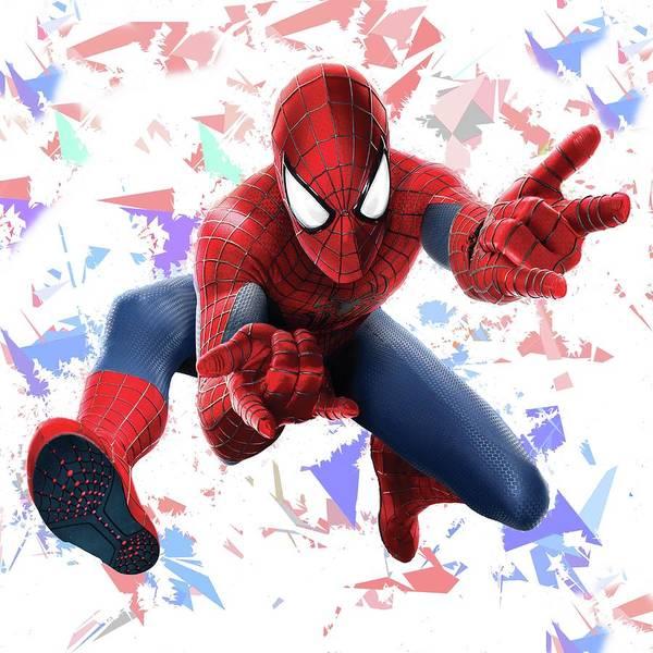 Mixed Media - Spider Man Splash Super Hero Series by Movie Poster Prints