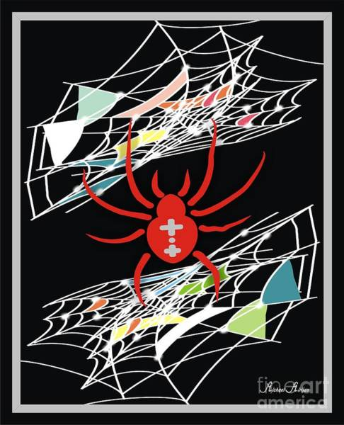 Bright Colours Mixed Media - Spider Net - Inter Net by Michael Mirijan
