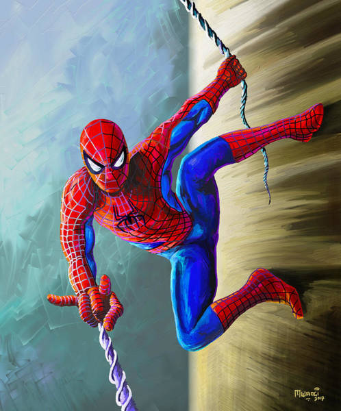 High Jump Painting - Spiderman by Anthony Mwangi