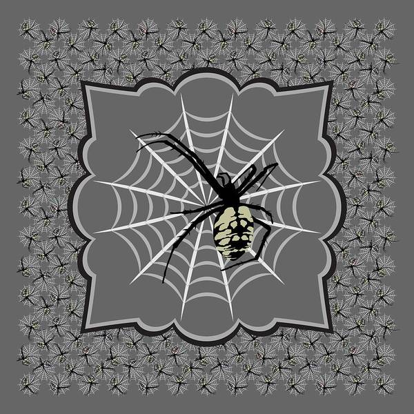 Digital Art - Spiders And Webs, Gray And Black by MM Anderson