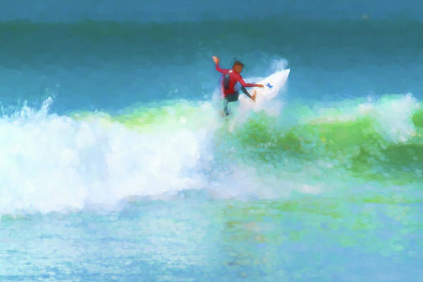Digital Art - Spidey Surfs Too Surfing Watercolor by Scott Campbell