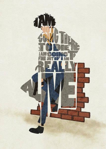 Digital Art - Spike Spiegel Typography Art by Inspirowl Design