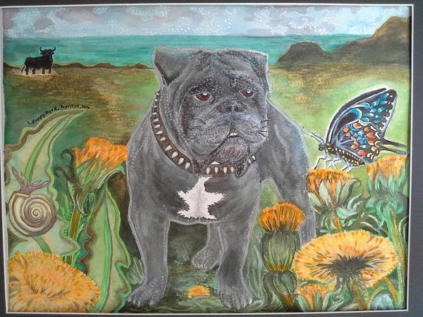English Bulldog Painting - Spike's Adventure by Happy Byrd