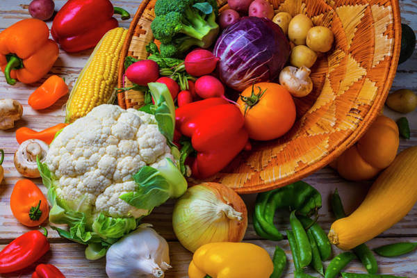 Wall Art - Photograph - Spilling Basket Of Vegetables by Garry Gay