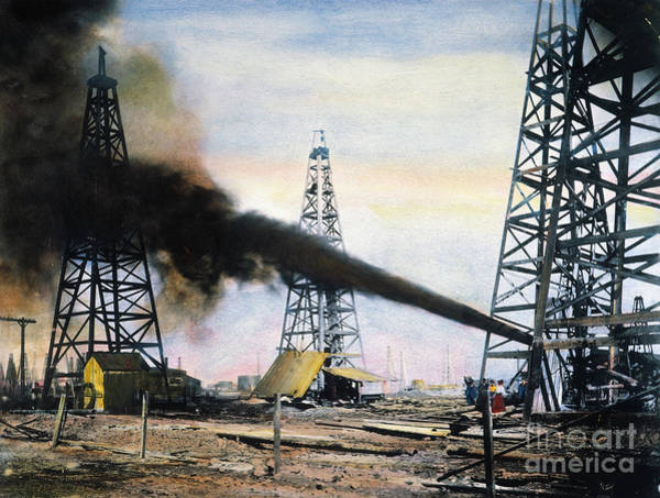 Drill Photograph - Spindletop Oil Pool, C1906 by Granger
