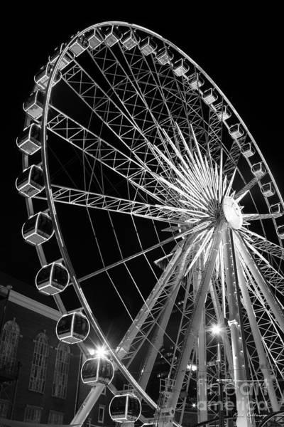 Photograph - Spinning At Night Twenty Stores Up Bw Skyview Ferris Wheel Centennial Park Atlanta, Georgia Art by Reid Callaway