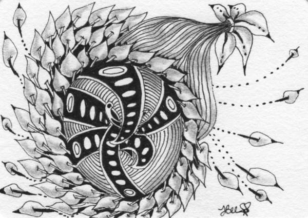 Drawing - Spinning Flower by Jan Steinle