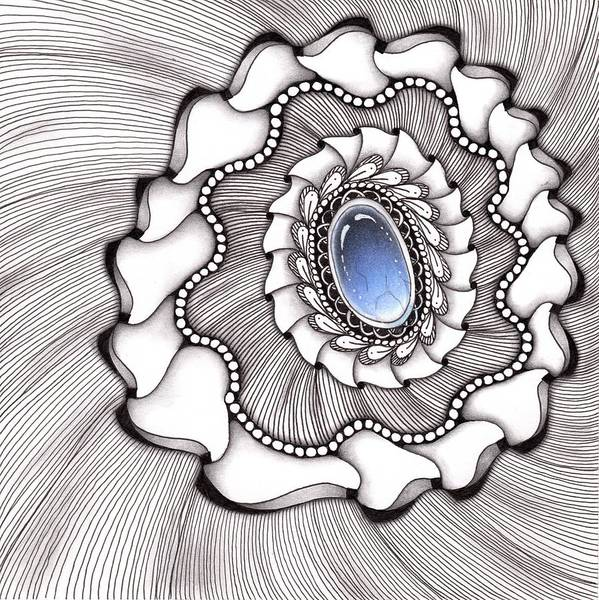 Drawing - Spinning Gemstone Flower by Jan Steinle