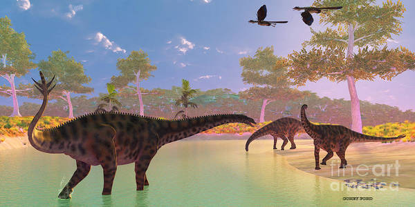 Primeval Painting - Spinophorosaurus Dinosaur River by Corey Ford