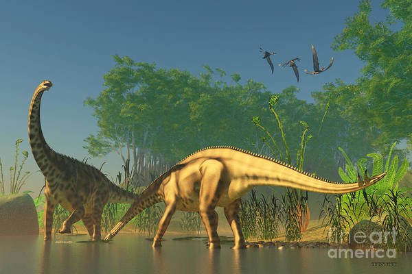 Primeval Painting - Spinophorosaurus In Swamp by Corey Ford