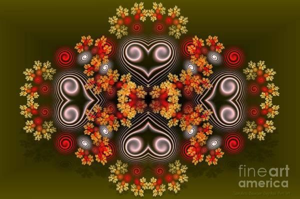 Digital Art - Spiral Hearts And Flowers by Sandra Bauser Digital Art