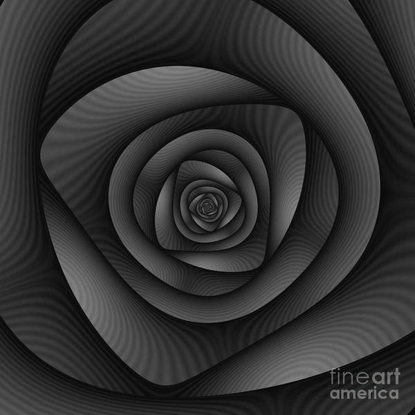 Square Aspect Wall Art - Digital Art - Spiral Labyrinth In Monochrome by Objowl's Fractal Art