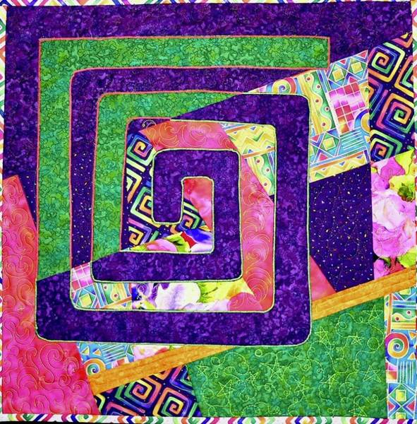 Tapestry - Textile - Spiral Squared by Pat Dolan
