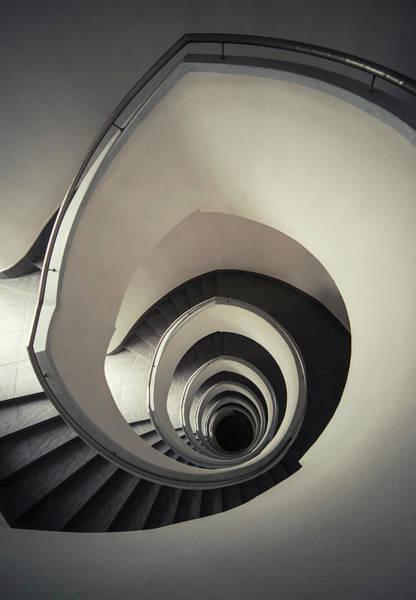 Photograph - Spiral Staircase In Beige Tones by Jaroslaw Blaminsky