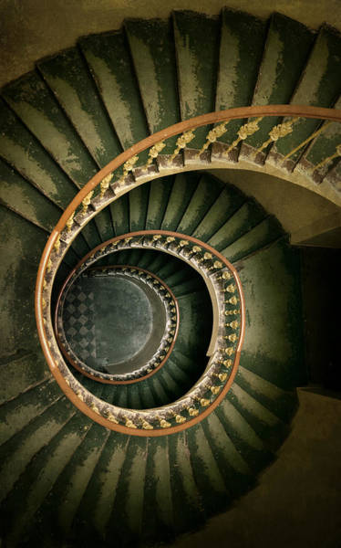 Historic Wall Art - Photograph - Spiral Staircase  In Green And Yellow by Jaroslaw Blaminsky
