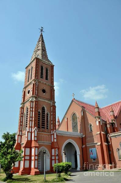 Photograph - Spire And Entrance Of Restored St Mary The Virgin Church Cathedral Multan Pakistan by Imran Ahmed