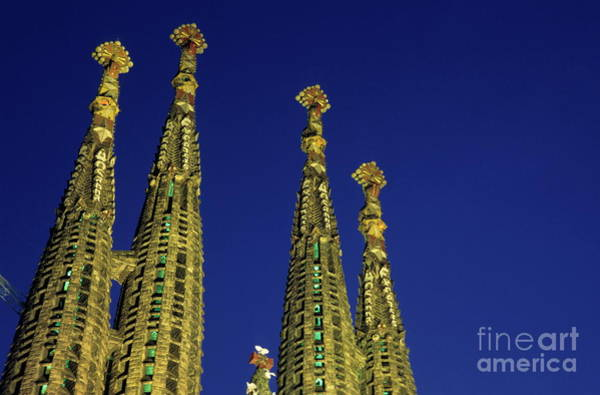 Wall Art - Photograph - Spires Of The Sagrada Familia Cathedral At Dusk by Sami Sarkis