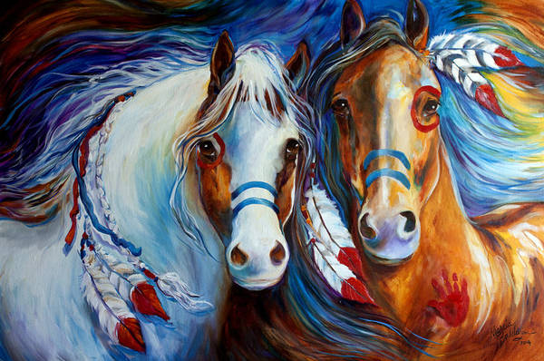 Painting - Spirit Indian War Horses Commission by Marcia Baldwin