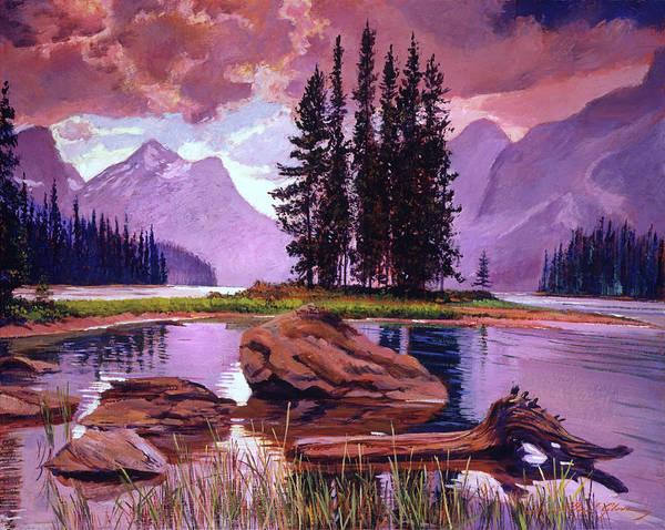 Mountain Lake Painting - Spirit Island by David Lloyd Glover