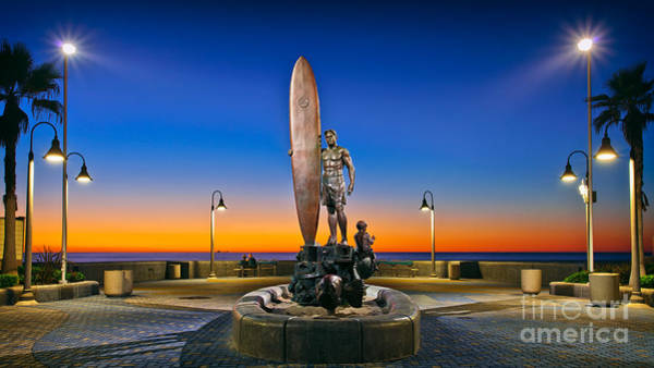Spirit Of Imperial Beach Surfer Sculpture Art Print