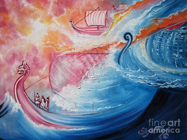 Painting - Seaworthy Viking Ships And Skilled Sailor's  Sail The Open Seas by Sigrid Tune