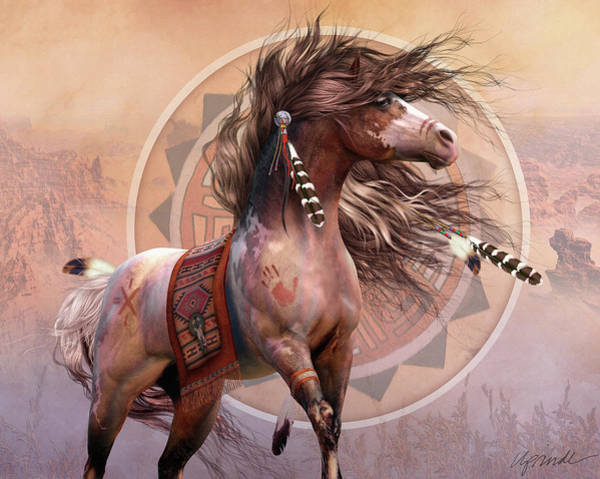 Horse Feathers Digital Art - Spirit Warrior by Laurie Prindle