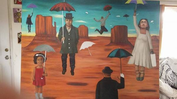 Painting - Spirits Of The Flying Umbrellas 3 Wip by Leah Saulnier The Painting Maniac