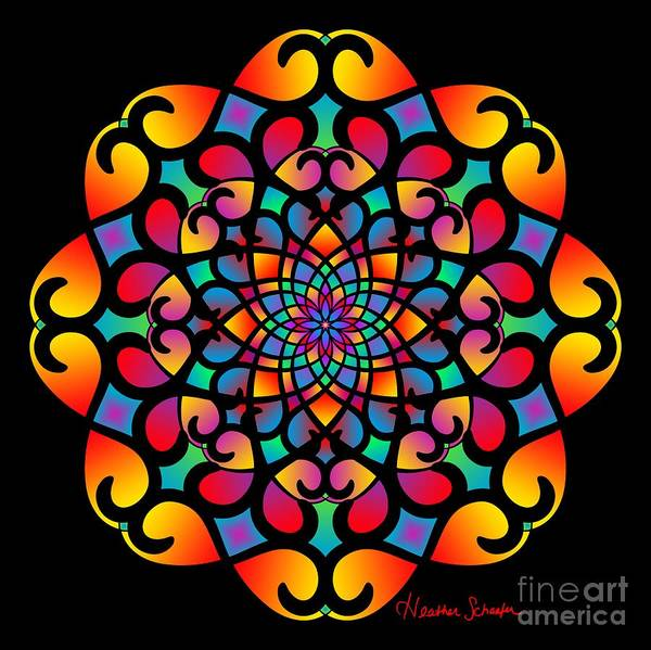 Digital Art - Spirograph Swirls Mandala by Heather Schaefer