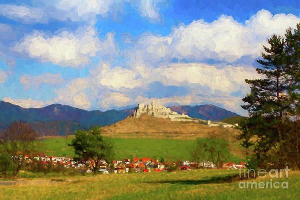 Photograph - Spissky Hrad, Slovakia - Painterly Rendition V2 by Les Palenik