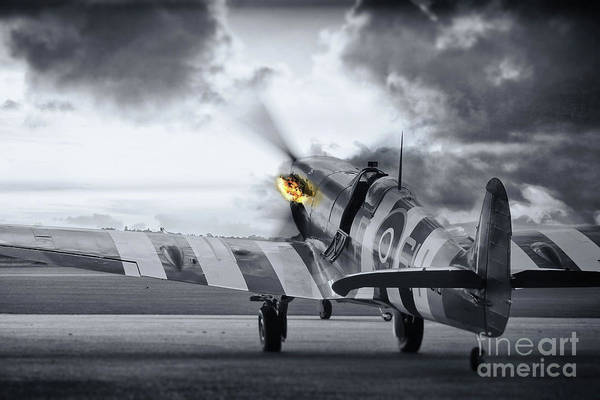 Wall Art - Photograph - Spitfire Ab910 Spitting Fire by J Biggadike