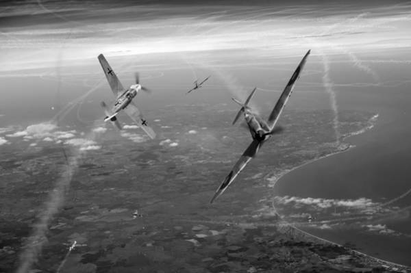 Digital Art - Spitfire And Bf 109 In Battle Of Britain Duel Bw Version by Gary Eason
