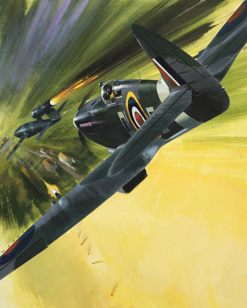 Doodle Painting - Spitfire And Doodle Bug by Wilf Hardy