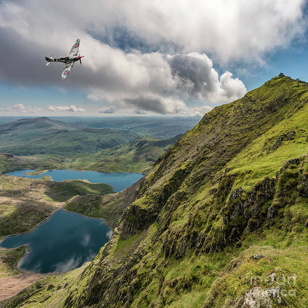 Pig Photograph - Spitfire Over Snowdon by Adrian Evans